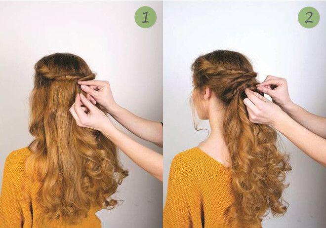 Заплетите легкие жгуты по направлению к затылку и зафиксируйте шпильками или невидимками