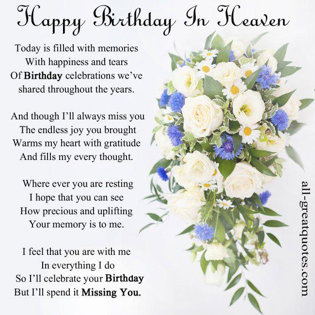 In Loving Memory Cards - Happy Birthday In Heaven