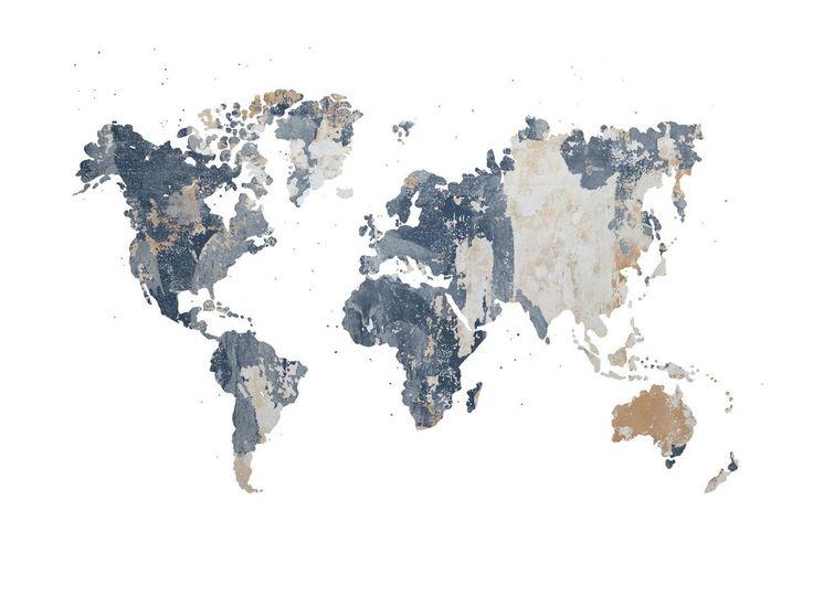 Nous vous donnons le cadre, les contours des continents et les frontières des pays – remplissez ce papier peint avec du contenu. Battered Wall vous donne une structure brute sur un papier peint.