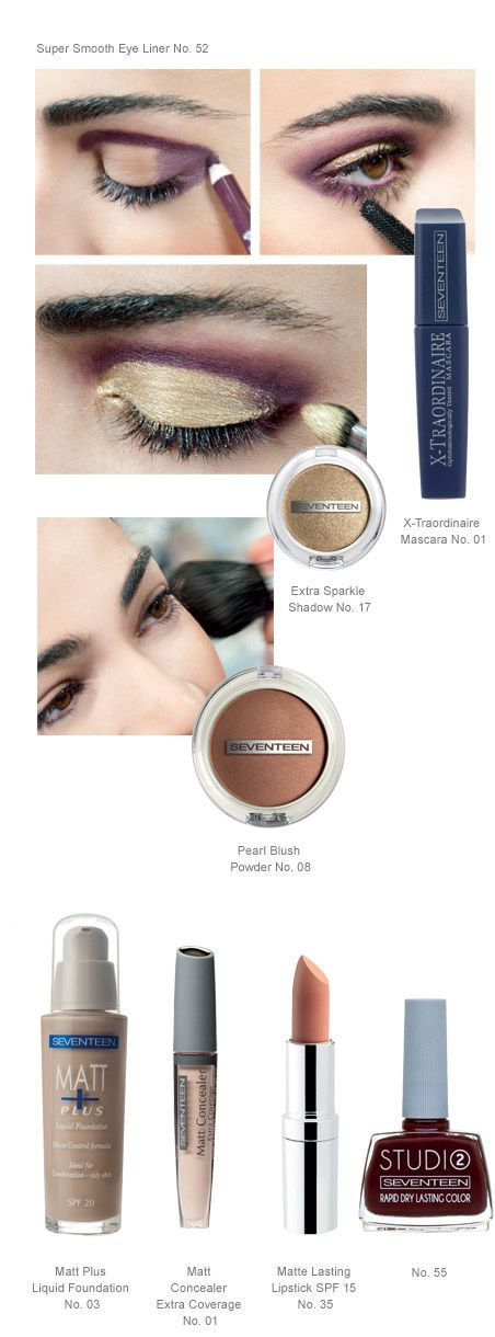 Golden Smoky   Seventeen Cosmetics Metallic gold combines with a wintry dark plum shade for a surpisingly creative spring make up look which adds drama and depth to the eyes. #Seventeen #Cosmetics #makeup #smoky