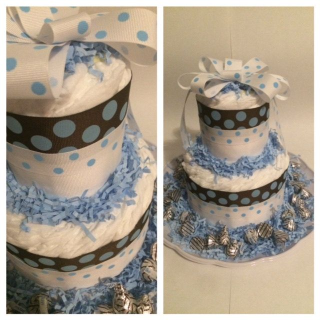 Brown w/Blue Polka Dots Small Diaper Cake Centerpiece, Boy by ChicBabyCakes on Etsy