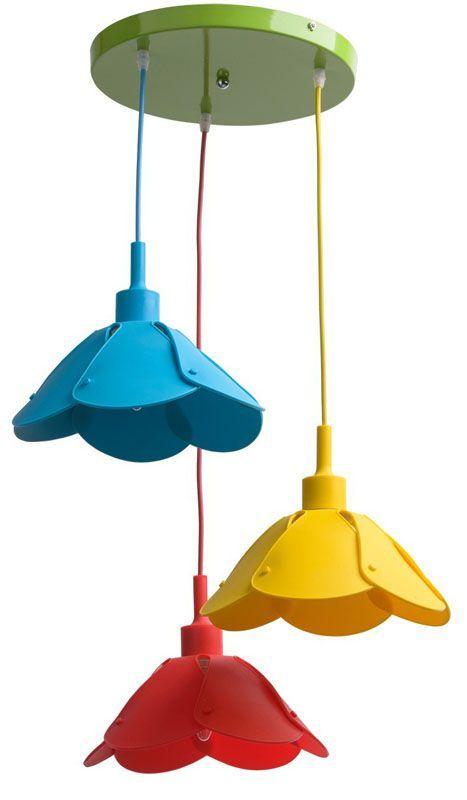Lustre enfant suspensions fleurs mulitcolores 3 éclairages