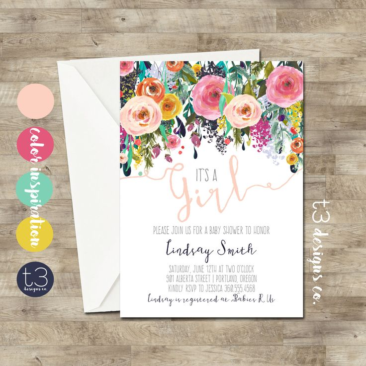 Whimsical Girl Baby Shower Invitation, girl baby shower invite, baby shower, floral baby shower, watercolor baby shower invitation by T3DesignsCo on Etsy https://www.etsy.com/listing/264125604/whimsical-girl-baby-shower-invitation