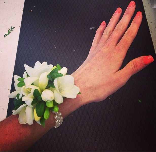 Wedding wrist corsage with white freesia. | The one with ...