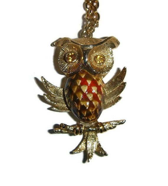 70s Owl Pendant Vintage Harlequin Owl by PopcornVintageByTann  #vintagejewelry #vintagenecklaces #vintagependants #vintageowlnecklace #popcornvintagebytann #70s #boho #necklace #pendant #owlfiguraljewelry #figuraljewelry #woodland #birdjewelry #animaljewelry #70sowlpendant #70sowls #owls #owljewelry #autumn #fallfashion #1970s #owlnecklace #owlpendant #rust #gold #orange #owlloversgift #boho #gypsypendant #harlequin #feathers #harlequinowl #70sfashion #1970sfashion #70sflashback