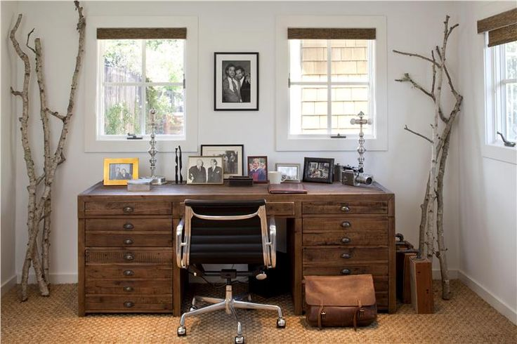 Manly Home Office: Artists Design, Ideas, Offices Spaces, Rustic Office, Trees Branches, Desks, Rustic Home Offices, House, Homes