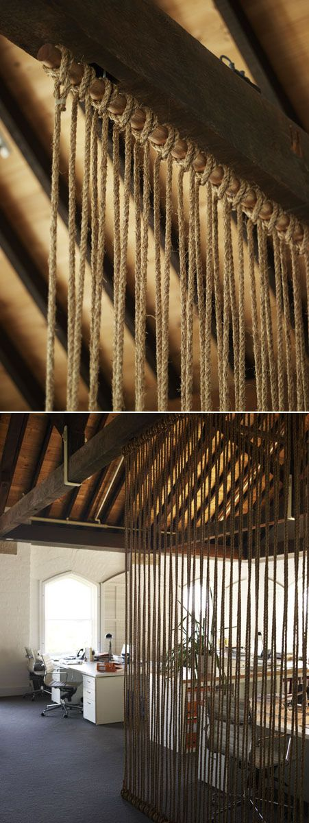 lots of good ideas for creating walls and dividers (incl. this rope from floor to ceiling)- some would definitely work and travel well for a booth/tradeshow display