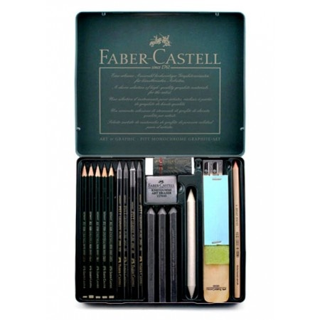 The Faber-Castell Pitt Graphite Set contains about everything that any aspiring artist would need to start their art supply. Each set has 18 pieces of drawing materials to enrich your drawings and sketches. This versatile graphite set is for aspiring artists, art students or the professional.