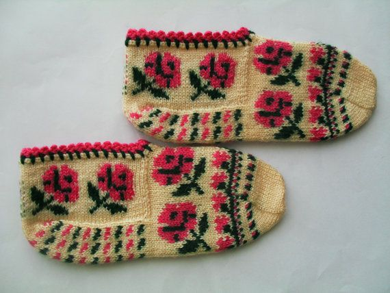 winter fashion ivory slippers rose pattern house by Istanbulcolors, $23.00