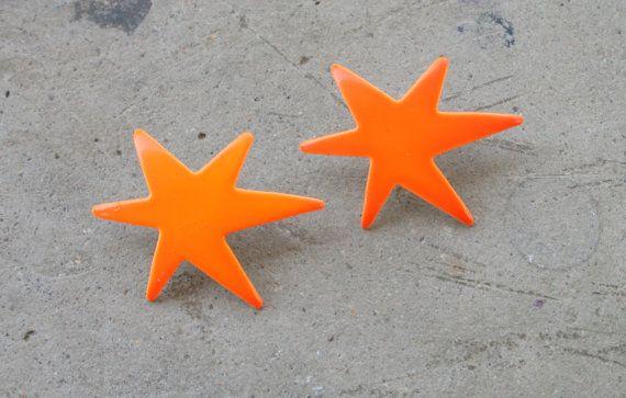 1980s NEON STAR Stud Earrings.....pierced ears. retro ...