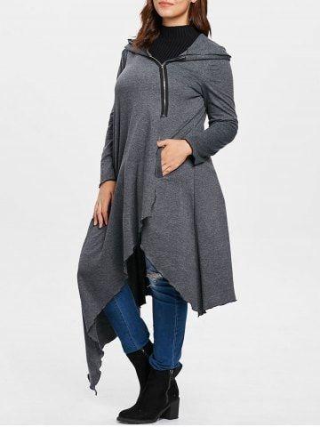 Plus Size Asymmetrical Long Zip Up Hoodie
