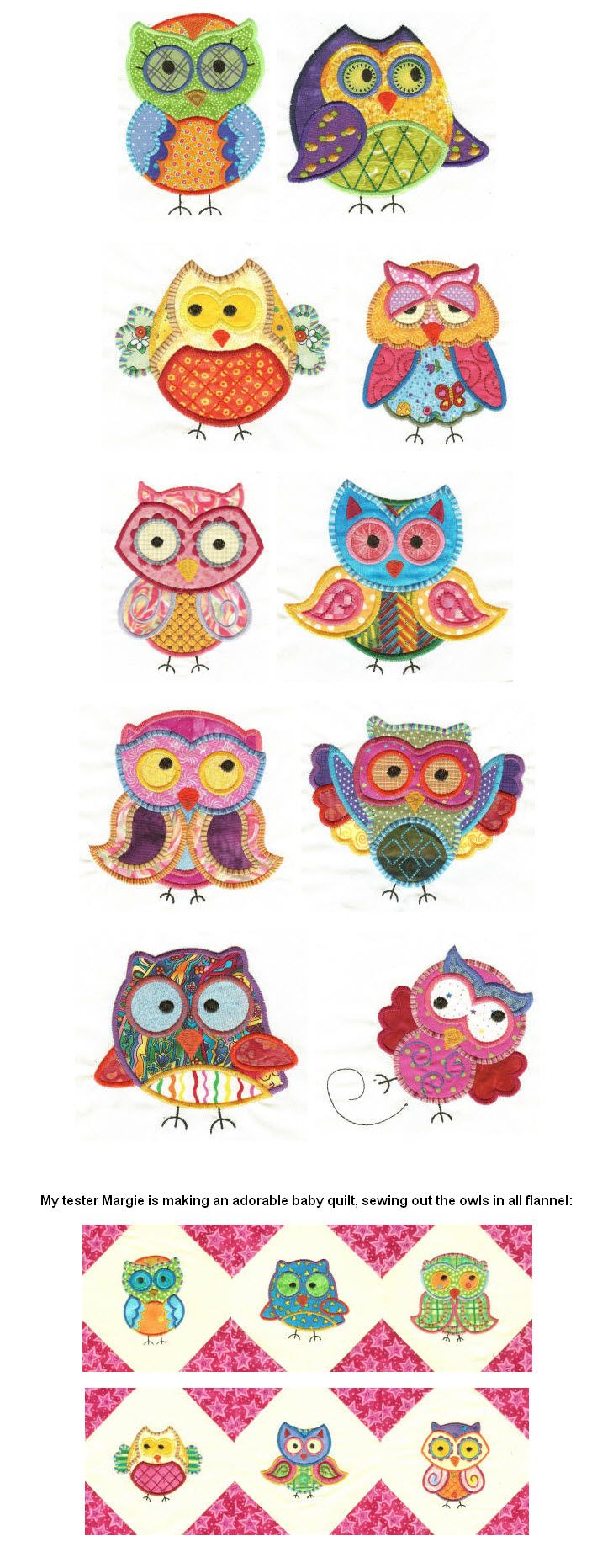 Designs by JuJu owls applique machine embroidery designs