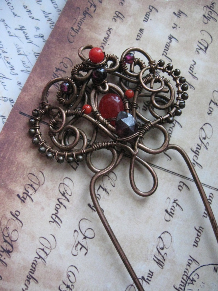 Wire+Wrapper+Copper+Hair+Fork++Metal+Hair+Pin++Artisan+by+Lirimaer,+$39.00