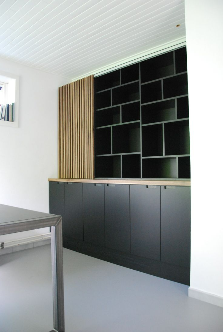 Home office space. Built in bookcase and desk. Black coloured MDF, walnut and steel.
