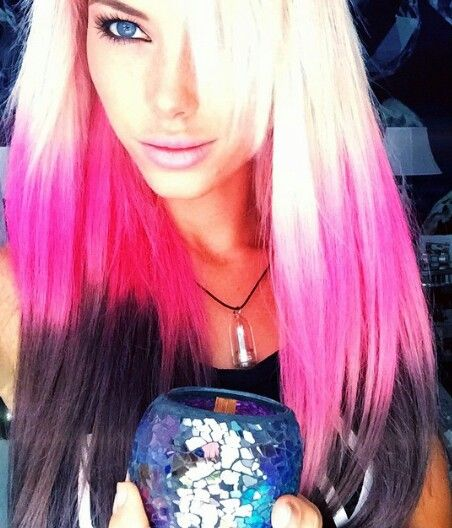 Blonde pink and black dyed hair