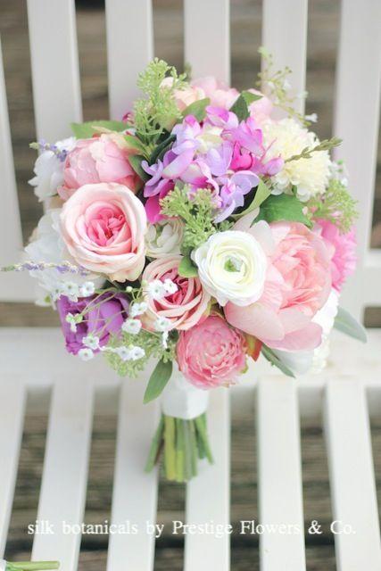 silk botanicals: peony, ranunculus, hydrangea, roses, babys breath, greenery by Prestige Flowers & Co.