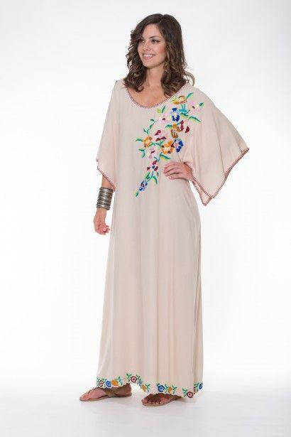 Violet Dress Maxi – Beige Ladli Australia  Beautifully Embroidered Kaftan, Hand Blanket Stitched on super soft wood bark fabric.