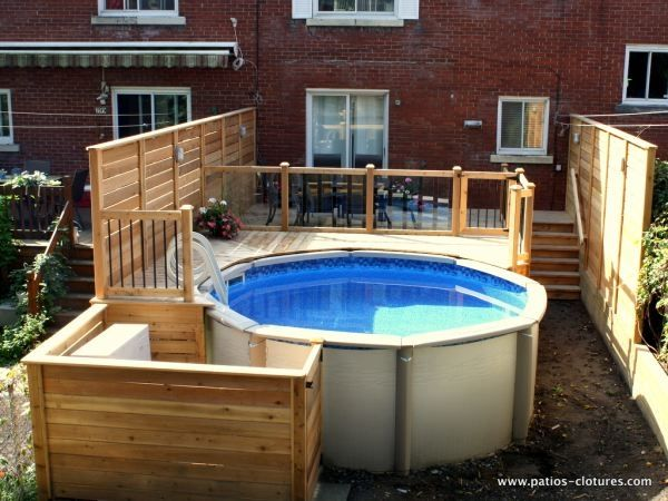 57 best backyard images on pinterest ground pools for Construire deck piscine