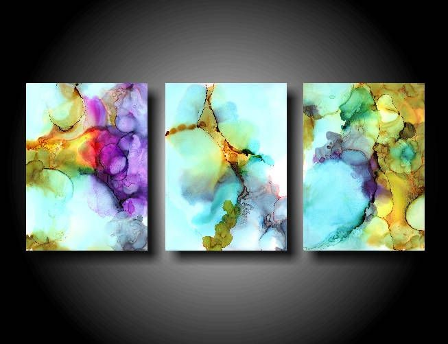 Large Abstract Painting Stretched Canvas Print 36 x 72 Triptych Wall Art Modern Painting Contemporary XL Huge Big Zen Colorful Painting Blue by therawcanvas on Etsy