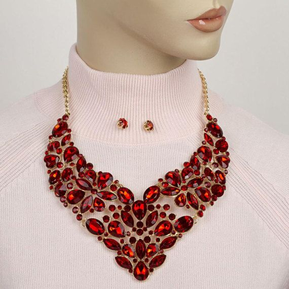 Red rhinestone necklace statementjeweled bib necklace