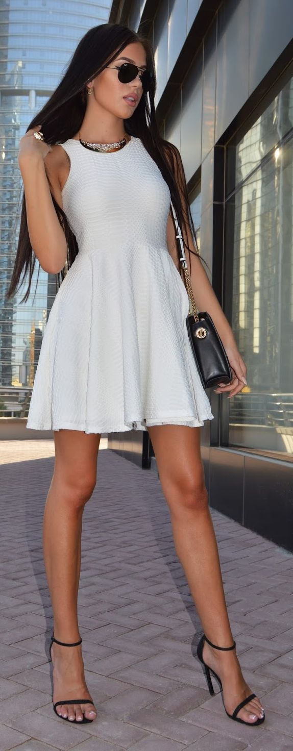 White Skater  Inspiration Dress - in fact lovely outfit with bag and shoes :)