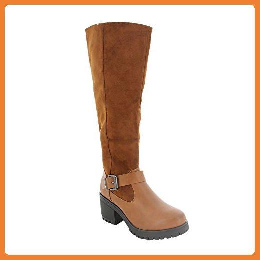 Ideal Shoes, Damen Stiefel & Stiefeletten , Braun - Camel - Größe: Fr 41 - Stiefel für frauen (*Partner-Link)