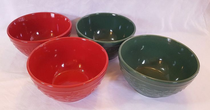 Christmas Bowls Holiday Home Set Of 4 Green Red Embossed Holly Berries 6″  #HolidayHome