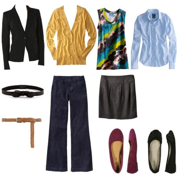 This post, about building a professional wardrobe with just a few basics, has a bunch of outfits that I like.