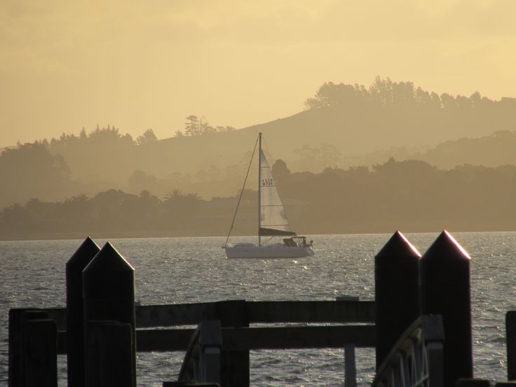 Watching the boats sailing just before the sun sets - Russell, Bay of Islands, New Zealand - Photo by Sally Williams