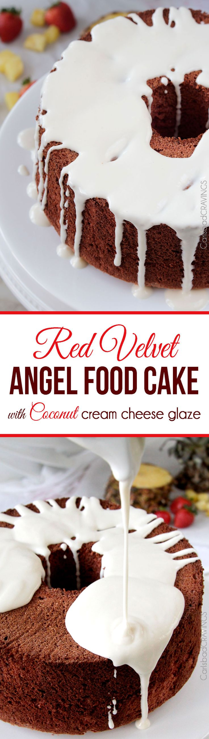 EASY light airy Red Velvet Angel Food Cake with INCREDIBLE Coconut Cream Cheese Glaze: This cake looks fancy (perfect for company or special occasions) but takes less than 20 minutes to make!
