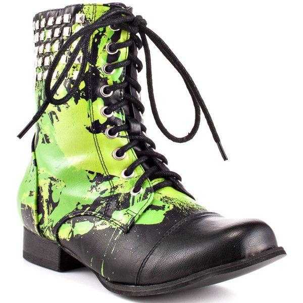 Abbey Dawn Rockstar Combat Boot - Black Green ($90) found on Polyvore
