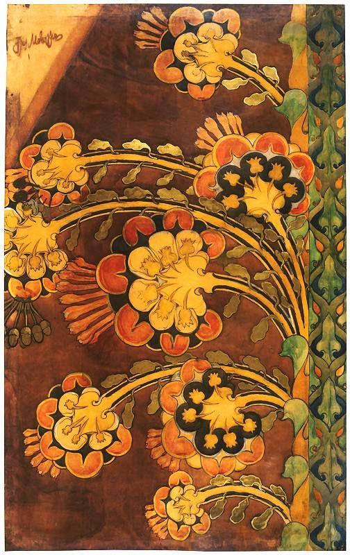 Jozef Mehoffer, Kwiaty Karton do polichromii skarbca katedry na Wawelu. 1901. Akwarela, papier na płótnie. 220 x 140 cm. Muzeum Narodowe w Krakowie.