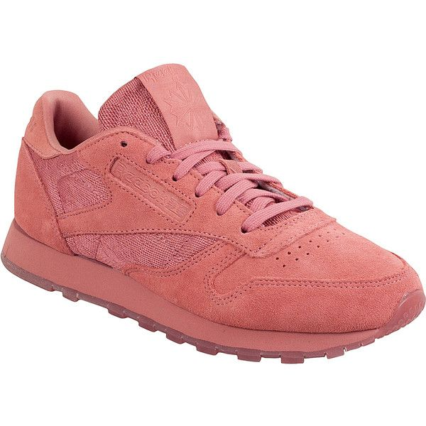 Reebok Classic Leather Lace Women's Low-Top Sneaker ($85) ❤ liked on Polyvore featuring shoes, sneakers, pink, reebok shoes, leather sneakers, pink sneakers, pink leather shoes and pink shoes