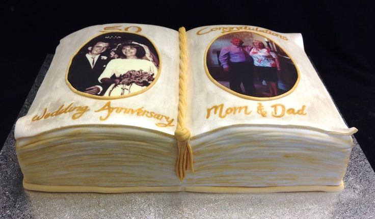 Golden anniversary photo book cake. Images of the special couple when they got married and now.