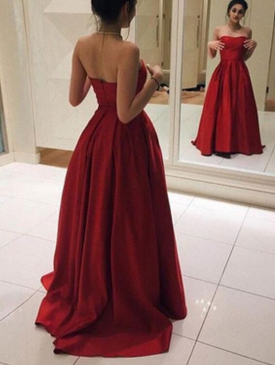 Image of Red Satin Long Simple Pretty Prom Dresses, Red Party Gowns, Formal Dresses