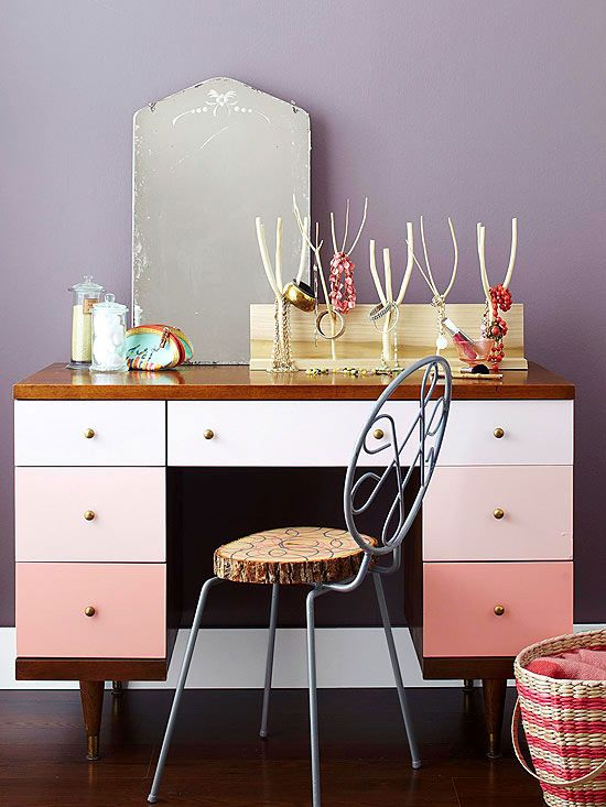 lovely makeover! an ombre desk used as a vanity