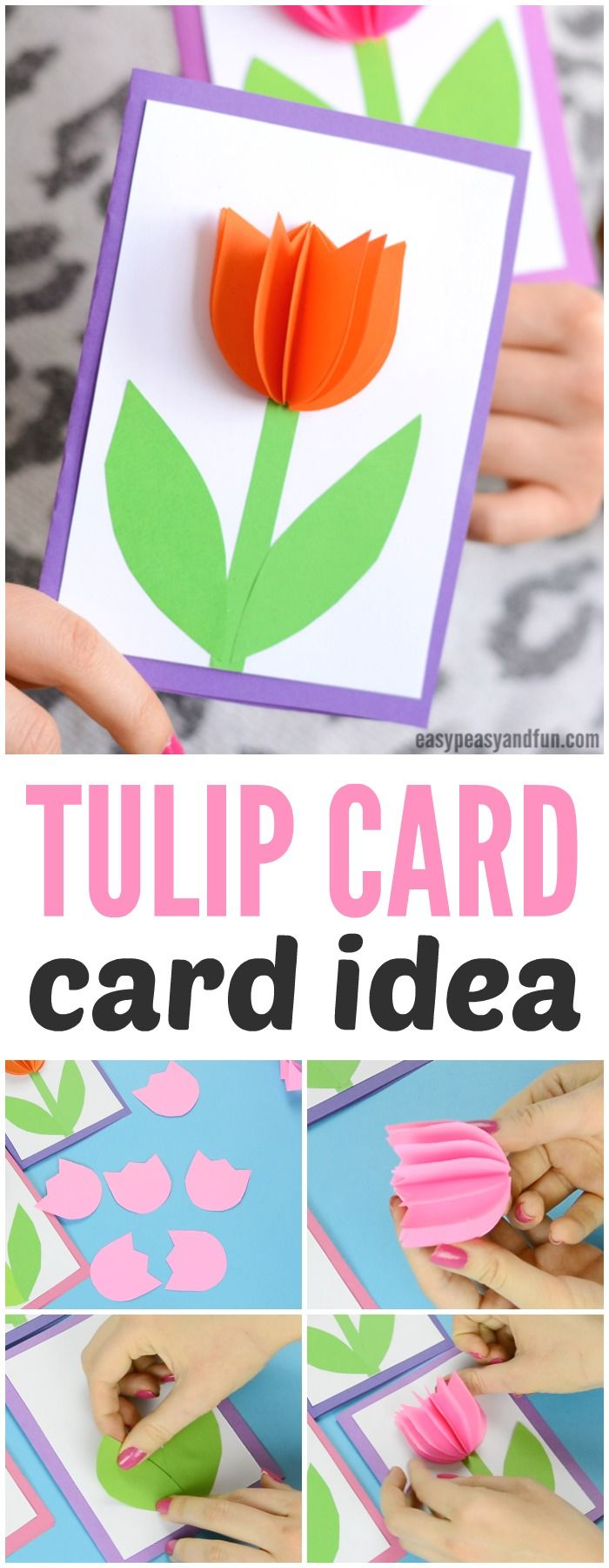 3d Paper Tulip Card Simple Mother S Day Card Idea Tulips Card Spring Crafts For Kids Spring Crafts