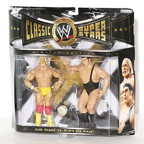 WWE Jakks Pacific Wrestling Classic Superstars Exclusive Action Figure 2Pack Andre The Giant Vs. Hulk Hogan by Jakks. $149.99. Includes Championship Belt. Highly Articulated. WWE Classic Super Stars 2-Pack featuring two legends of the WWE, Hulk Hogan and Andre the Giant. Hulk measures approximately 6 inches in height with Andre measuring in at 7 inches.