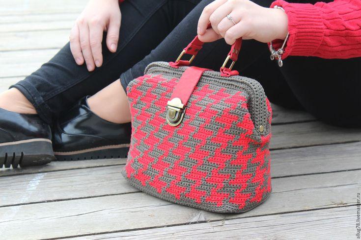 """Купить Описание. Вязаная сумка-саквояж """"Искры"""" - ярко-красный, сумка, саквояж, вязаная сумка"""