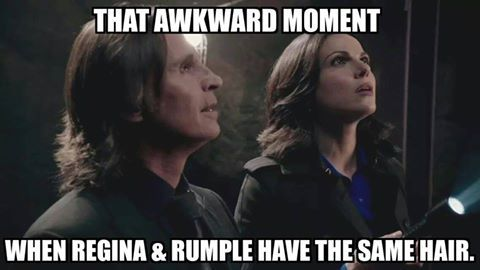 That awkward moment...when Rumple and Regina have the same hair - Once Upon a Time humour