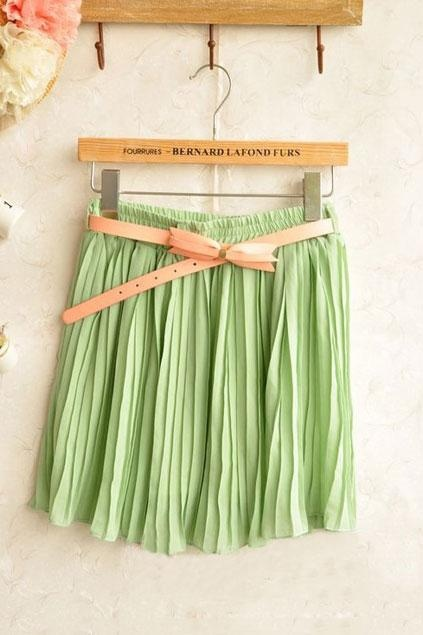 Oasap Pure Color Pleated Skirt with Contrast Colored Belt