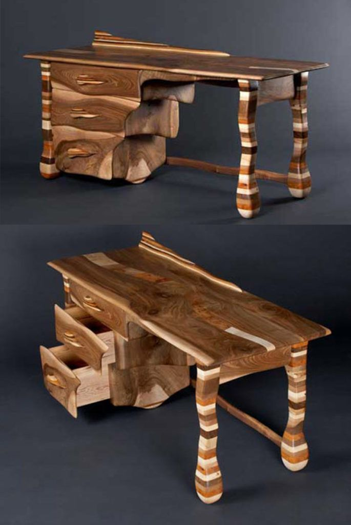 Made from a combination of walnut sycamore elm oak and yew the Rainbow Desk3