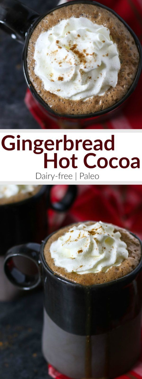 Dairy-free Gingerbread Hot Cocoa   In this Dairy-free Gingerbread Hot Cocoa that's sweetened with honey and molasses and spiced just right you get it all - cookies and cocoa - in one soul-warming mug topped with whipped coconut cream, if you please   Paleo   therealfoodrds.com