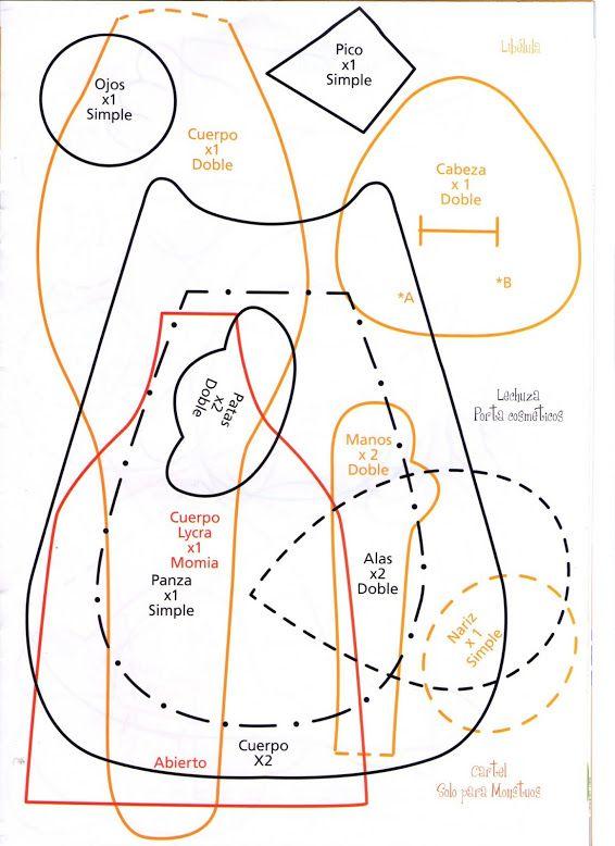 Moldes Para Artesanato em Tecido: Coruja de Tecido com molde passo a passo