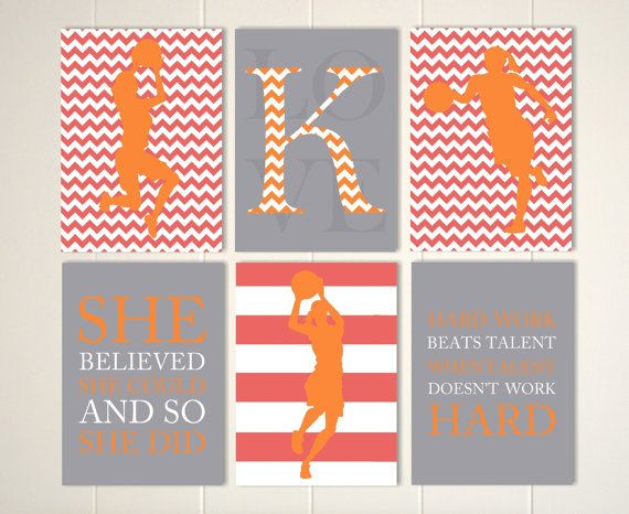 Basketball theme room decor, basketball wall art, girls room art, basketball player, monogram art, custom colors and sports, et of 6 by PicabooArtStudio