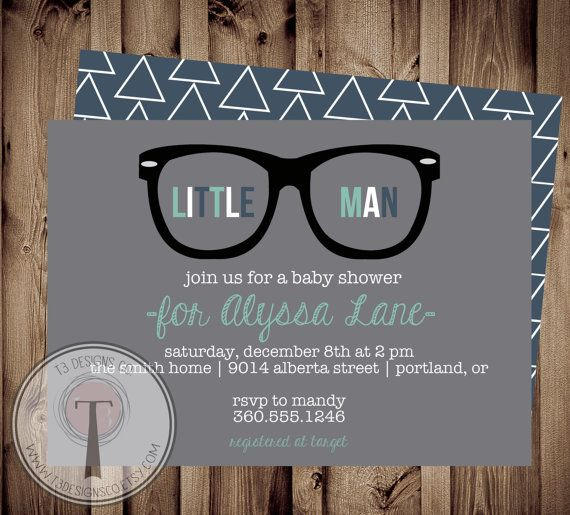 Little Man Baby Shower Invitation, hipster glasses, Little Man, Chevron, Invite, hipster baby shower, hipster invite