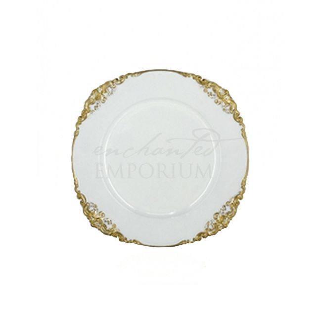 Vintage white and gold charger plate Hire, Enchanted Emporium