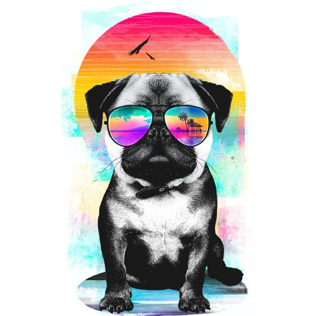 Summer Pug is a T Shirt designed by clingcling to illustrate your life and is available at Design By Humans