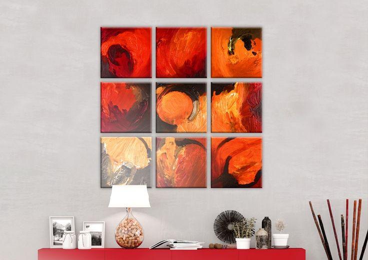 Cuadro pintado sobre leinzo Juego de colores puedes colgar en tu pared en forma de un cuadrado (como en la visualización), rectángulo o en una línea. Queda perfecto en cualquier combinación ツ
