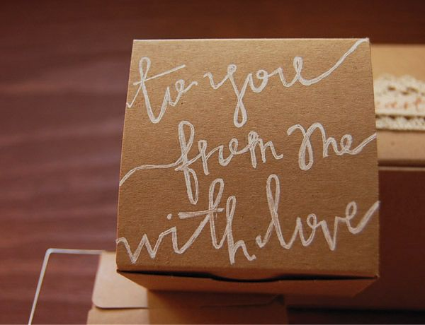 gift wrap ideas. Nuts for white hand lettering on butcher paper! Excellent low budget chic.